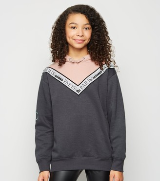 New Look Girls Light Chevron Slogan Colour Block Hoodie