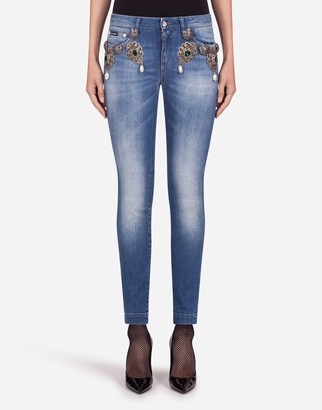 Dolce & Gabbana High-Waisted Denim Jeans With Decorations