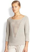 L'Agence LA'T by Open Knit-Paneled Cotton Sweater