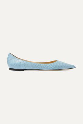 Jimmy Choo Love Croc-effect Leather Point-toe Flats - Light blue