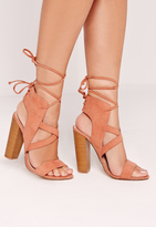 Missguided Cross Strap Lace Back Block Heeled Sandals Pink