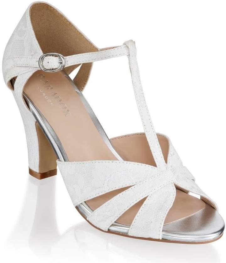 de60299c589 Paradox London Reanne Ivory Low Heel Strappy Peep Toe Shoes