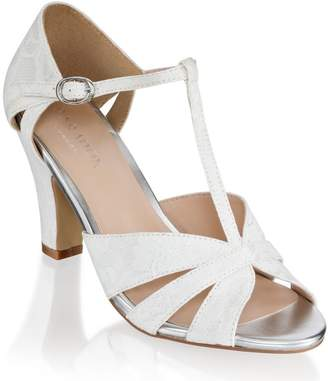 Paradox London Reanne Ivory Low Heel Strappy Peep Toe Shoes