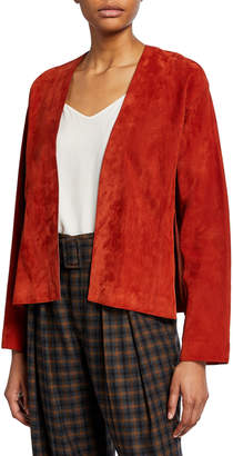 Vince Suede Open-Front Jacket with Belt