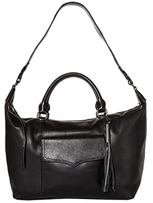 The Sak Sierra Leather Convertible Satchel (Black) Handbags