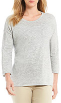 Sigrid Olsen Signature Pointelle Detail Pullover Sweater