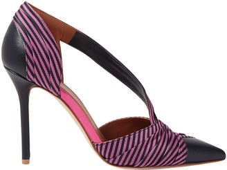 Malone Souliers Edith 100 Cutout Striped Canvas And Leather Pumps