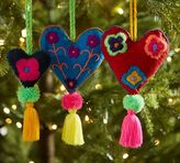 Pottery Barn Embroidered Heart Ornaments