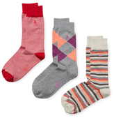 Original Penguin Stripes and Agryle Mid-Calf Socks (3 PK)