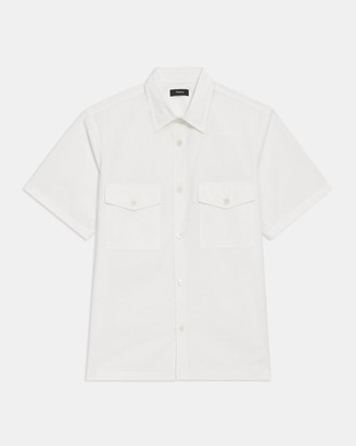 Theory Patch Pocket Shirt in Garment Washed Cotton