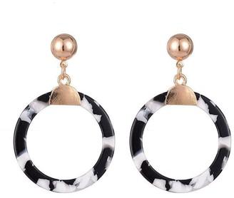 Monochrome Resin Drop Hoop Pendant Earrings