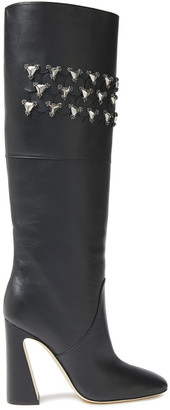Alberta Ferretti Laser-cut Embellished Leather Knee Boots