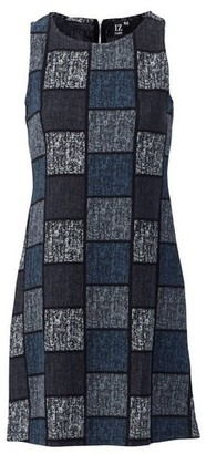 Dorothy Perkins Womens *Izabel London Grey Square Print Sleeveless Shift Dress, Grey