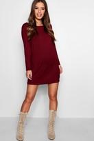 boohoo Petite Long Sleeve Shift Dress