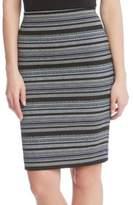 Karen Kane Jacquard Stripe Knit Knee-Length Skirt