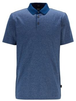 Slim-fit polo shirt in finely striped mercerized cotton