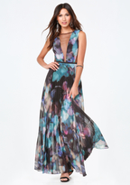 Bebe Print Pleated Deep V Gown