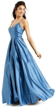 Blondie Nites Juniors' Lace-Up-Back Gown