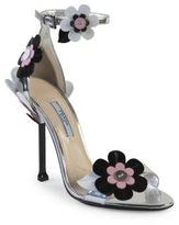 Prada Floral-Embroidered Metallic Leather Ankle-Strap Sandals