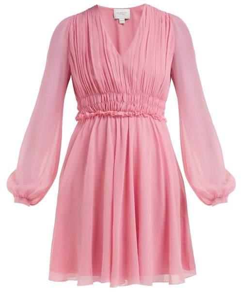 Giambattista Valli Gathered Silk Chiffon Mini Dress - Womens - Pink
