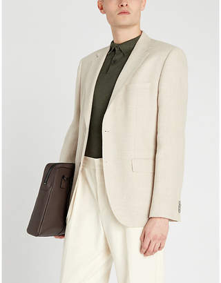 BOSS Extra slim-fit wool and linen-blend jacket