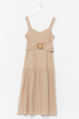 Nasty Gal Womens Day to Day Linen Belted Midi Dress - Beige - S, Beige
