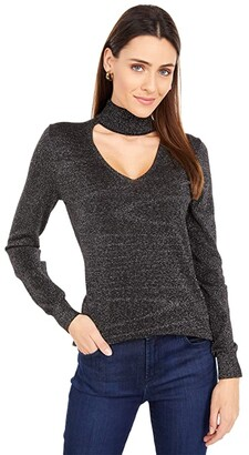 MICHAEL Michael Kors Lurex Choker Sweater (Black/Silver) Women's Clothing