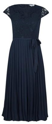 Dorothy Perkins Womens Petite Navy Lace Pleated Midi Dress