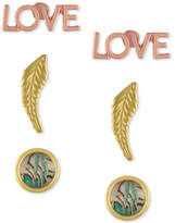 Rachel Roy 3-Pc. Set Love, Feather and Abalone-Look Stud Earrings