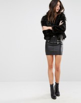Vero Moda Leather Look Zip Detail Mini Skirt
