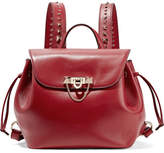 Valentino Demilune Studded Leather Backpack - Red