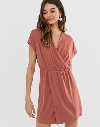Monki wrap front mini dress in rust