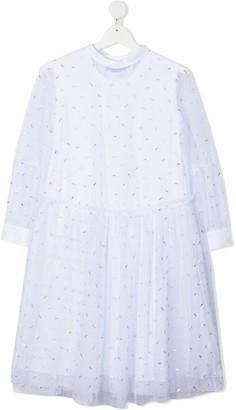 Mi Mi Sol TEEN metallic detail long-sleeved dress