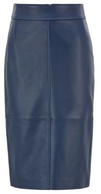 BOSS Regular-fit pencil skirt in lambskin