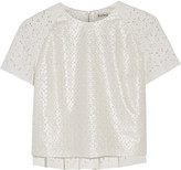Suno Coated cotton-eyelet and lace top