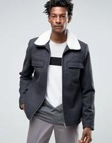 Kiomi Wool Bomber Jacket With Fleece Collar