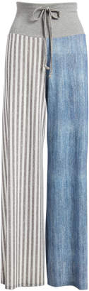 Lee Casa Women's Casual Pants BLUE - Blue & Gray Stripe Palazzo Pants - Women