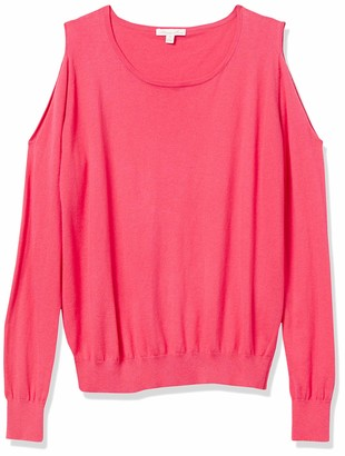 Minnie Rose Women's Knit Tease Cold Shoulder Sweatshirt
