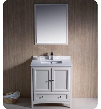 "Oxford 30"" Single Bathroom Vanity Set with Mirror Fresca Base Finish: Antique White"