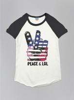Junk Food Clothing Kids Girls Peace Lol Short Sleeve Raglan