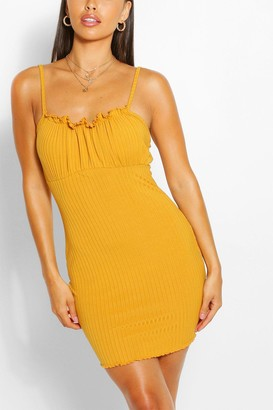 boohoo Petite Rib Square Neck Bodycon Dress