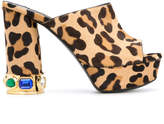 Casadei leopard print platform mules