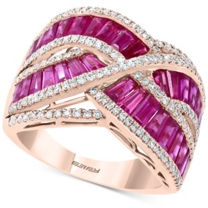 Effy Certified Ruby (4-1/8 ct. t.w.) & Diamond (1/2 ct. t.w.) Baguette Crossover Ring in 14k Rose Gold