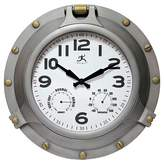 Infinity Instruments Porthole All Weather Wall Clock Silver/Brass