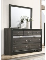 Mooneyhan Beveled Edge 9 Drawer Double Dresser with Mirror Union Rustic Color: Gray