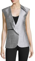 CNC Costume National Asymmetric-Lapel Fitted Vest, Silver
