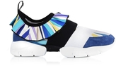 Emilio Pucci Zaffiro Printed Viscosa and Suede Sneakers