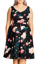 City Chic Plus Size Women's 'Delight' Floral V-Neck Fit & Flare Dress