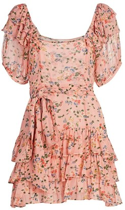 LoveShackFancy Kimbra Ruffle Floral Silk Mini Dress