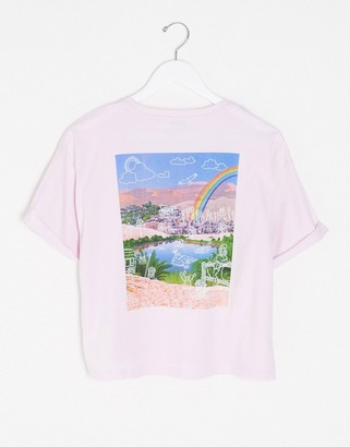 Wrangler archive back print cropped t-shirt in lilac